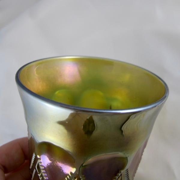 Antique Millersburg Green Diamonds Carnival Glass Tumbler
