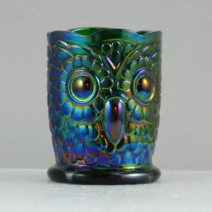 St. Clair Emerald Green Owl Carnival Glass Toothpick Holder