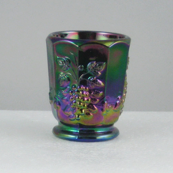 Westmoreland for Levay Amethyst Paneled Grape Carnival Glass Toothpick or Shot Glass