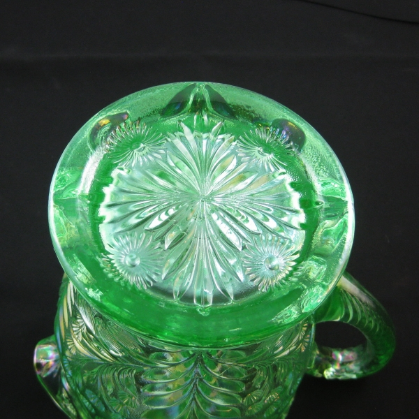 Imperial Meadow Green Tiger Lily Carnival Glass Water Set 1WP + 4T