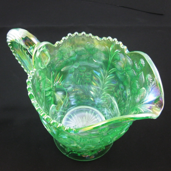 Imperial Meadow Green Tiger Lily Carnival Glass Water Set