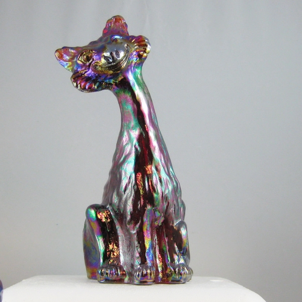 Fenton Red Amberina Alley Cat Carnival Glass Figurine
