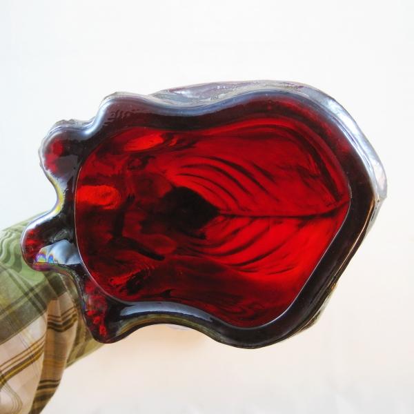 Fenton Red Amberina Alley Cat Carnival Glass Figurine
