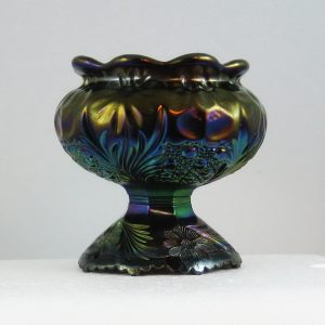 Antique U.S. Glass Amethyst Cosmos & Cane Carnival Glass Spittoon Shape Compote