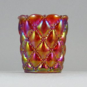 Brooke Red Diamond Quilt Carnival Glass Toothpick Holder