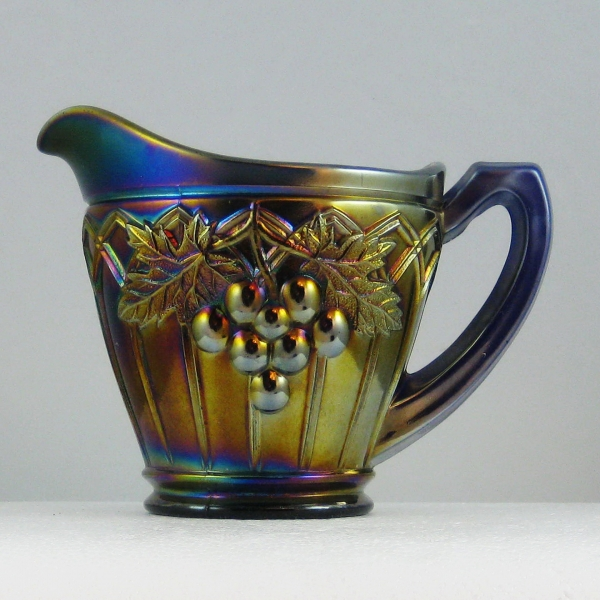 Antique Northwood Blue Grape & Gothic Arches Carnival Glass Creamer