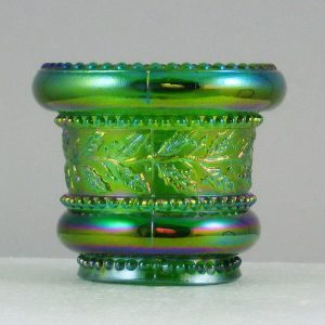 St. Clair Green Holly Band Carnival Glass Toothpick Holder