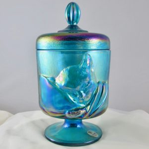 Fenton Sapphire Blue Chessie Cat Carnival Glass Candy Jar Box