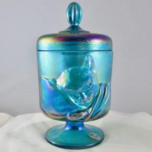 Fenton Sapphire Blue Chessie Cat Carnival Glass Candy Jar Box
