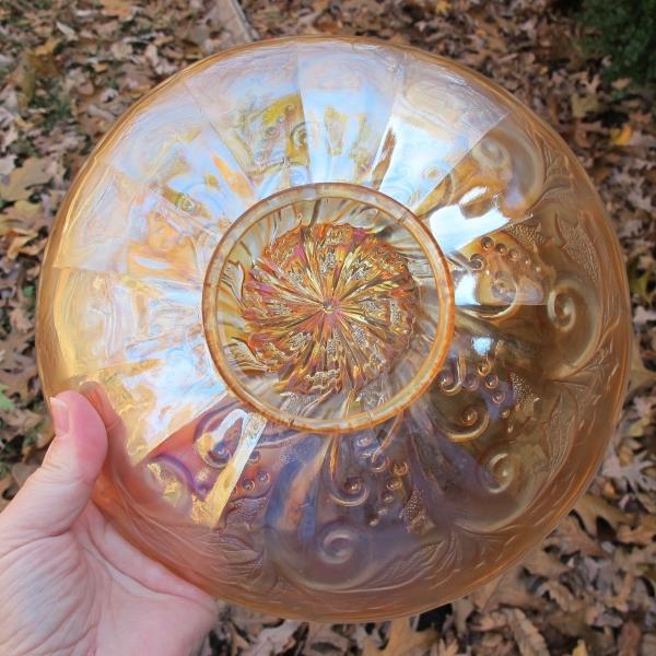 "Antique Millersburg Pastel Marigold Seaweed Carnival Glass 8 3/4"" ICS Bowl"