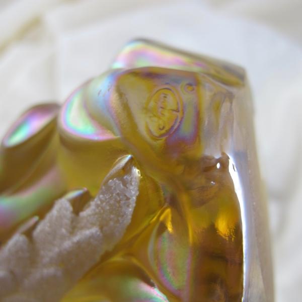 Fenton Autumn Gold Coralene Wing Carnival Glass Angel Figurine