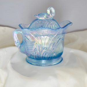 Westmoreland Summit Ice Blue Swan & Cattails Carnival Glass Covered Creamer