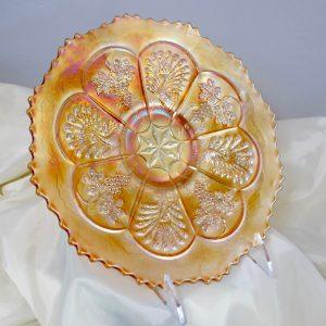 Antique Fenton Marigold Peacock & Grape Carnival Glass Plate (Collar Base)