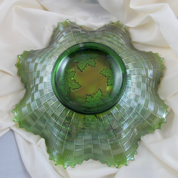 Antique Northwood Green Grape & Cable Carnival Glass Bowl