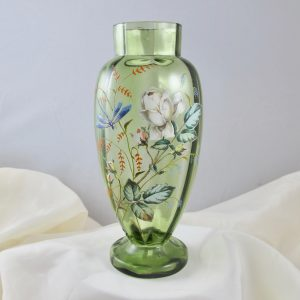 Antique Moser Painted Enameled White Rose Dragonfly Art Glass Vase