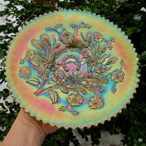 Antique Northwood Green Good Luck Carnival Glass Plate Variant