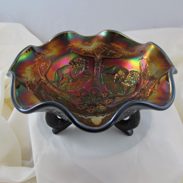 Fenton Black Lions Fenton's Flowers Carnival Glass Ruffled Bowl