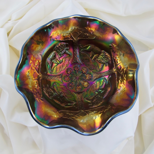 Fenton Black Lions Fenton's Flowers Carnival Glass Ruffled Bowl