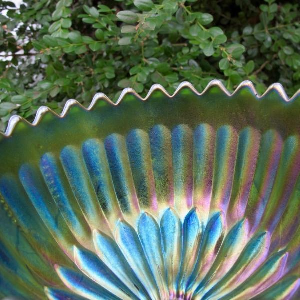 Antique Northwood Green Leaf & Beads Carnival Glass Nut Bowl - Sawteeth