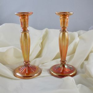 Antique Fenton Grecian Gold #232 Carnival Glass Candleholders