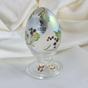 Fenton White Painted Holly Carnival Glass Egg Paperweight