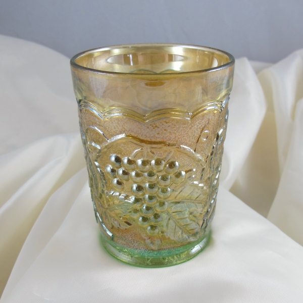 Antique Imperial Vaseline Imperial Grape Carnival Glass Tumbler