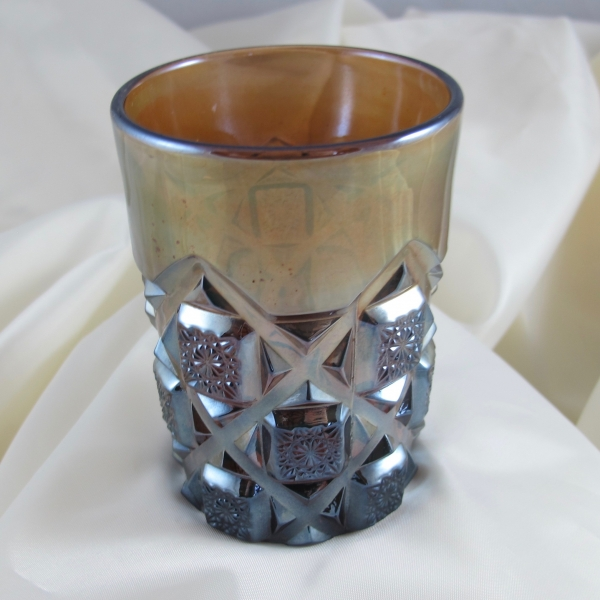 Antique Westmoreland Amethyst Checkerboard Carnival Glass Tumbler