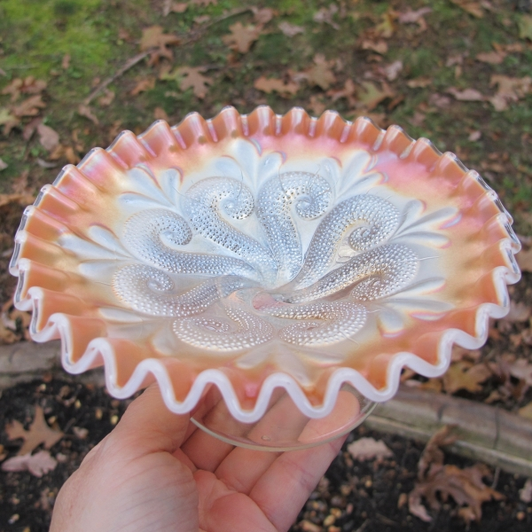 Antique Dugan Question Marks Peach Opal Carnival Glass Crimped Plate