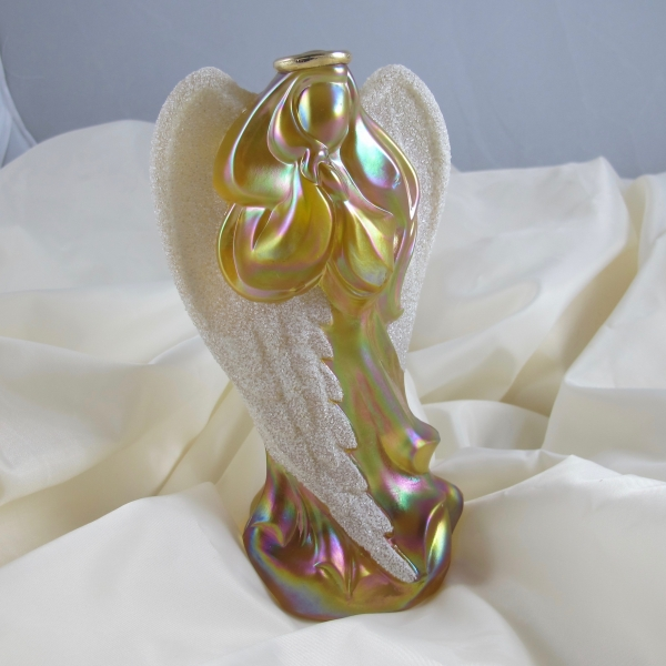 Fenton Autumn Gold Coralene Wing Carnival Glass Angel Figurine with Halo