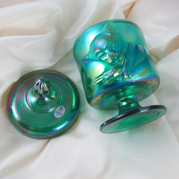 Fenton Emerald Green Chessie Cat Carnival Glass Candy Jar Box
