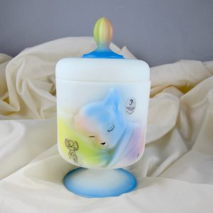 Fenton Satin Opal Tie Dye Chessie Cat Glass Candy Jar Box w Mouse!
