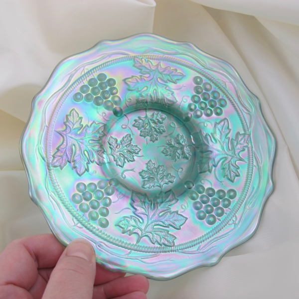Fenton Ice Green Grape & Cable Carnival Glass Plate - ICGA 1996
