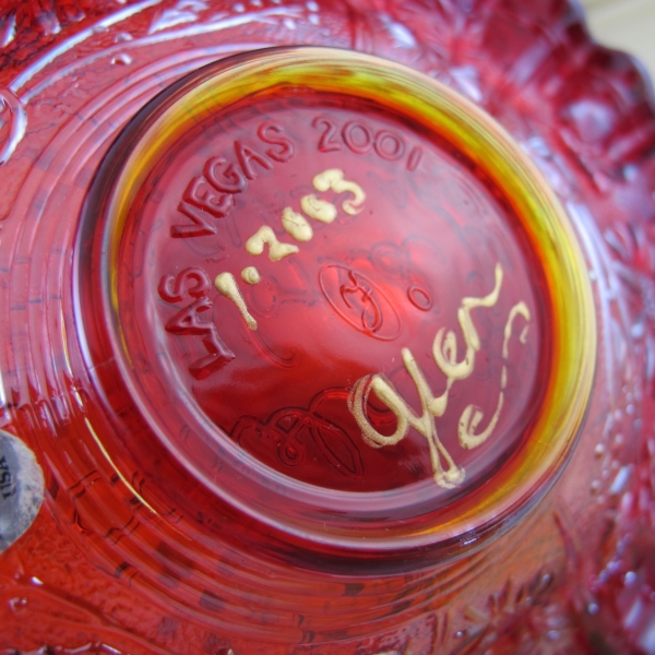 Fenton Red Pinecone Carnival Glass JIP Plate - OOAK - Glen Thistlewood Painter