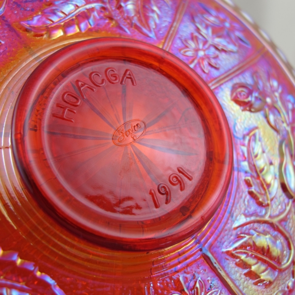 Fenton Red Peacock Dahlia Carnival Glass Plate - HOACGA Limited Edition