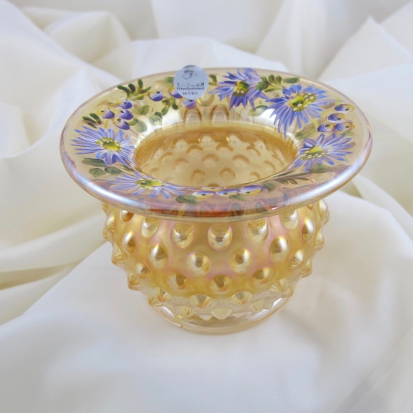 Fenton Autumn Gold Hobnail Carnival Glass Spittoon Painted Daisies - OOAK - HOACGA