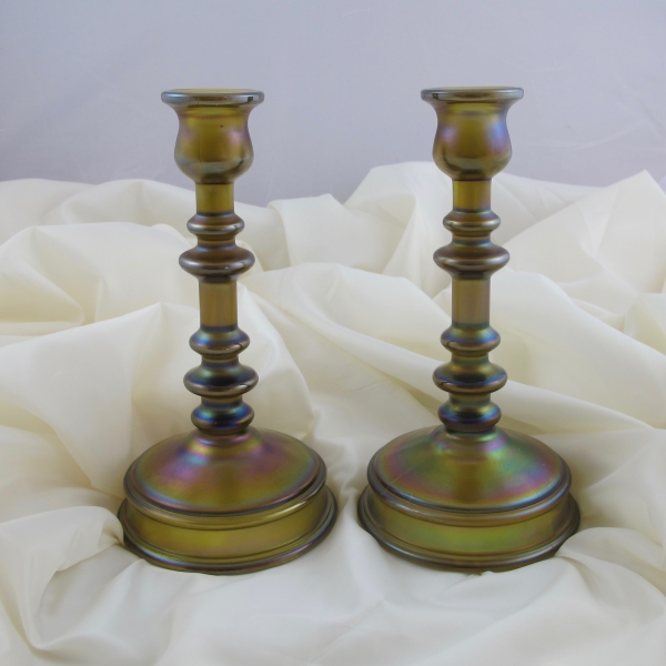 Antique Northwood #708 Spindle Russet Stretch Carnival Glass Candleholders