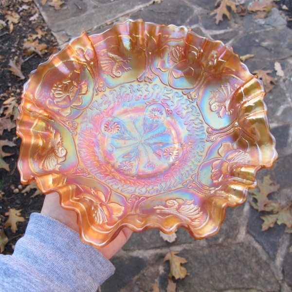 Antique Fenton Marigold Dragon & Lotus Carnival Glass 3N1 Bowl