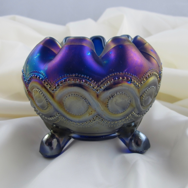 Antique Northwood Blue Beaded Cable Carnival Glass Rose Bowl
