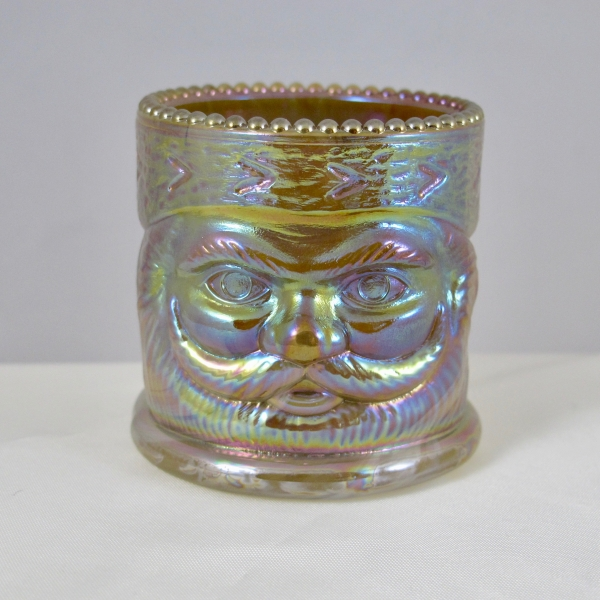 Joe St. Clair SANTA Chocolate Slag Carnival Glass Toothpick Holder - Collectors Weekly 1974