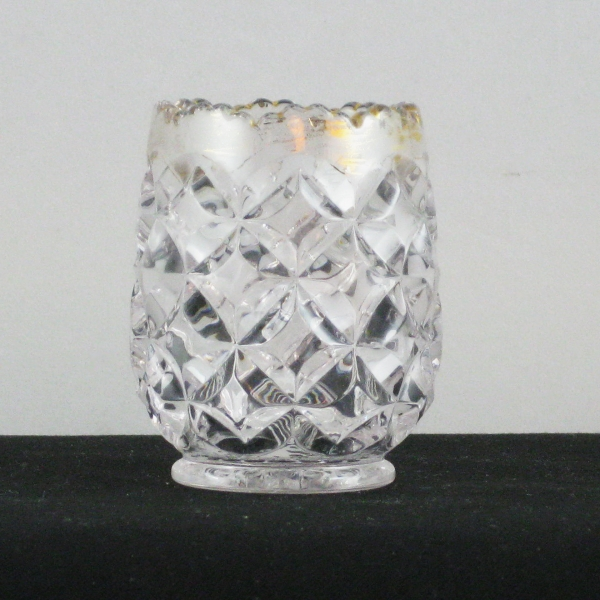 Heisey Crystal with Gold Rim Pillows EAPG Glass Toothpick Holder