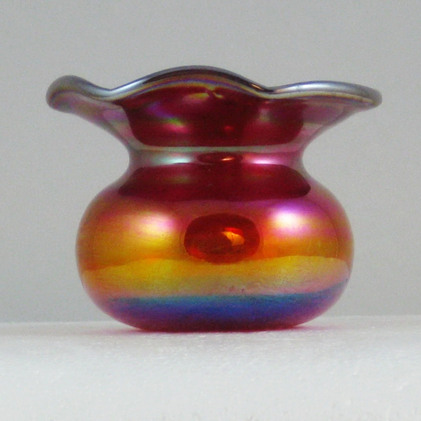 Gibson Red Plain Carnival Art Glass Spittoon Toothpick Holder