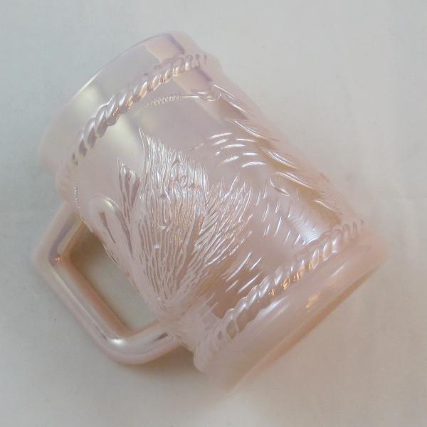 Fenton for Singleton Bailey Shell Pink Swan Carnival Glass Mug