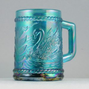 Fenton for Singleton Bailey Teal Swan Carnival Glass Mug