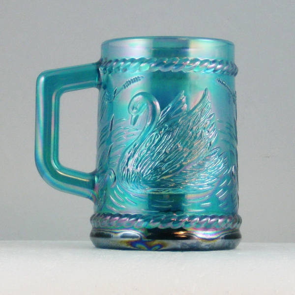 Fenton for Singleton Bailey Teal Swan Carnival Glass Mug