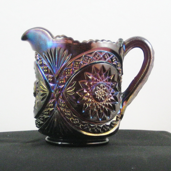 Antique Imperial Purple Hobstar Carnival Glass Creamer