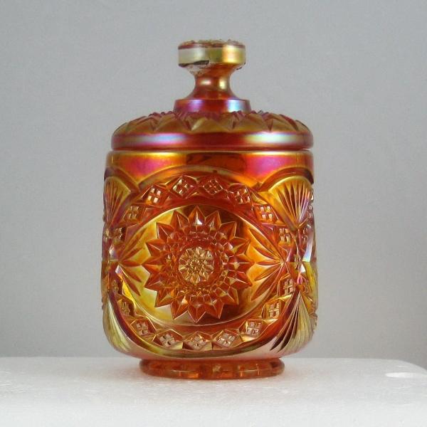Antique Imperial Marigold Hobstar Carnival Glass Covered Sugar