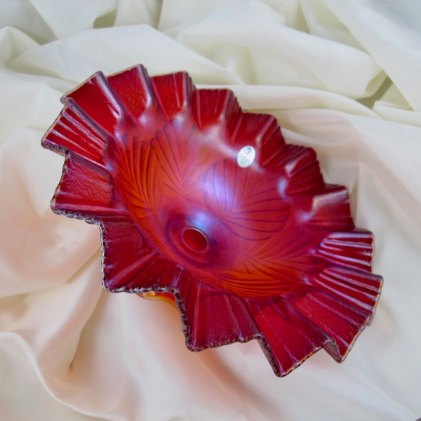 Fenton Red Carnival Glass Single Vase Epergne Limited Edition