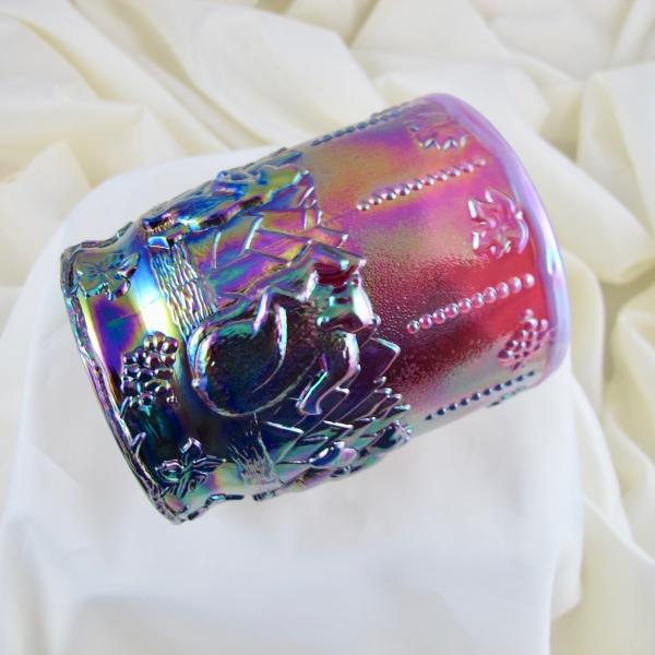 Fenton Plum Opal Frolicking Bears Carnival Glass Vase Tumbler
