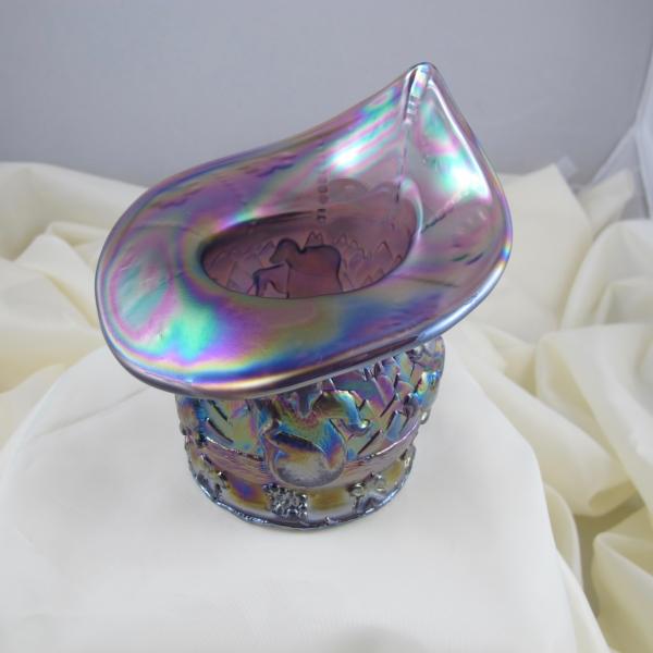 Fenton Lavender Frost Frolicking Bears Carnival Glass JIP Vase