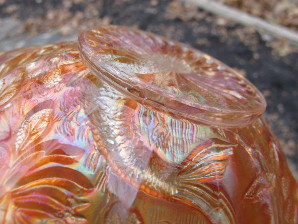 Antique Millersburg Big Fish Marigold Carnival Glass Square Bowl
